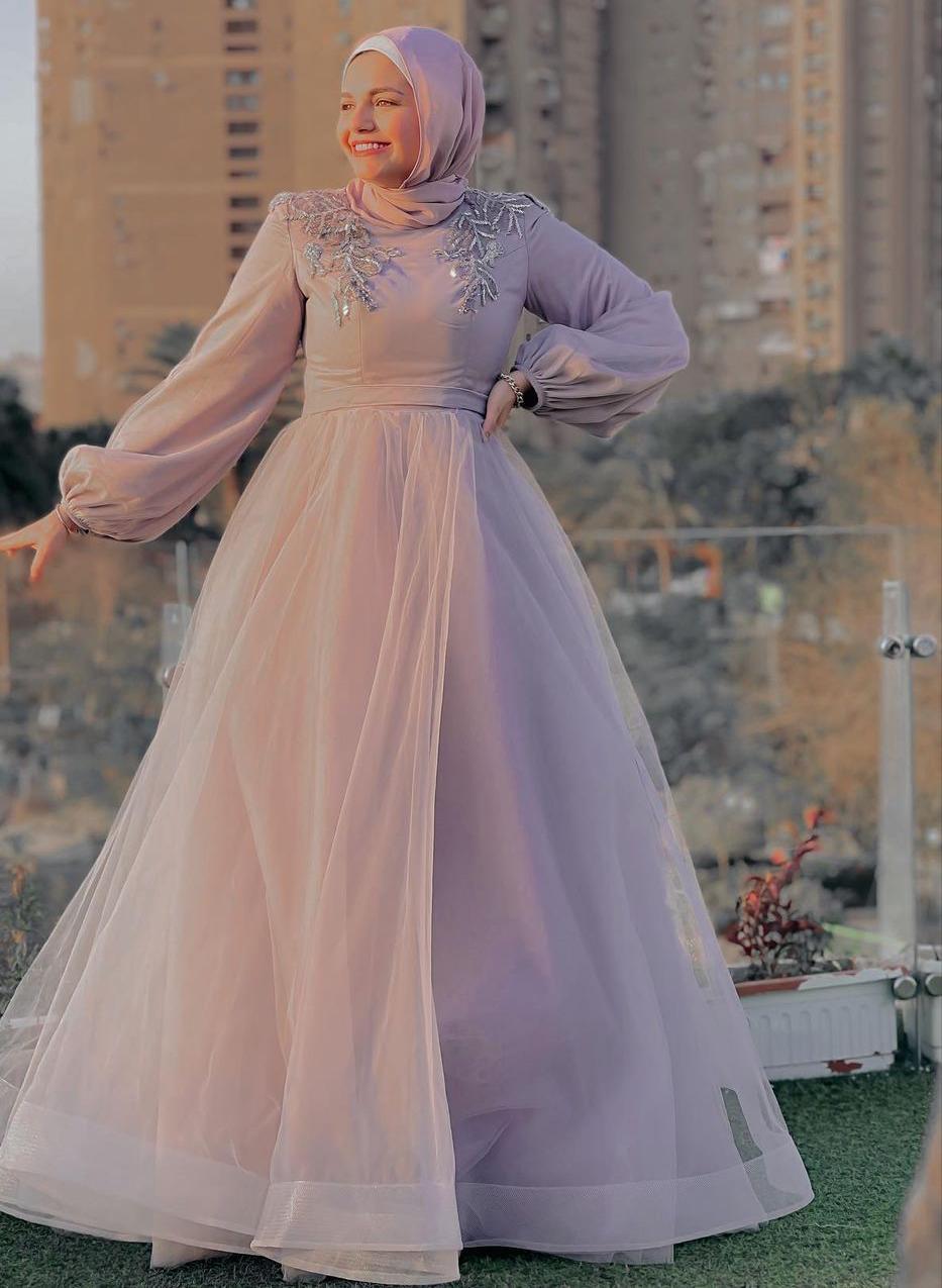 فستان زهري للمناسبات من اية فوزي